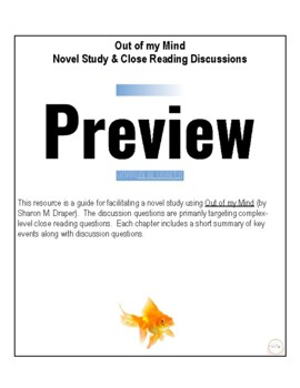 Out of my Mind Novel Study & Close Reading Discussions
