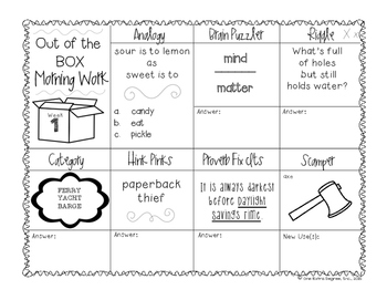 Out of the Box: Critical Thinking Morning Work