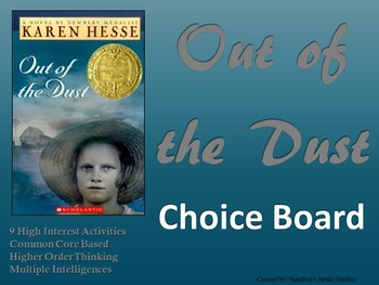 Out of the Dust Choice Board Novel Study Activities Menu Book Project