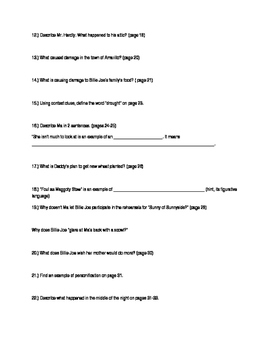 Out of the Dust Close Reading Questions Pages 3-33