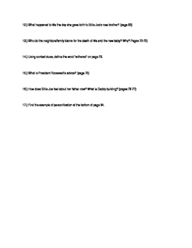Out of the Dust Close Reading Questions Pages 33-84