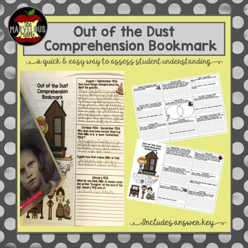 Out of the Dust Comprehension Bookmark