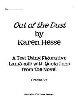 Out of the Dust Figurative Language Test Using Quotes From the Novel