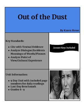 Out of the Dust - Karen Hesse (9 Day Unit with Benchmark)