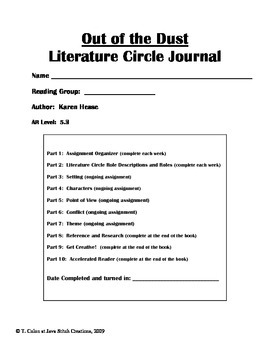 Out of the Dust Literature Circle Journal Student Packet
