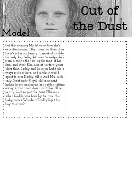 Out of the Dust Summary Packet for Whole Book!