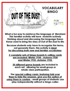 Out of the Dust Vocabulary Bingo