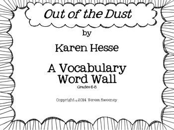 Out of the Dust Vocabulary Word Wall