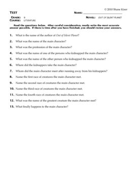 Out of the Silent Planet Test Questions