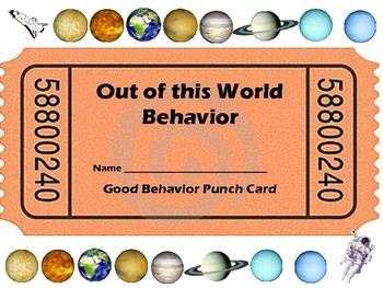 Out of this World Behavior Punch Card