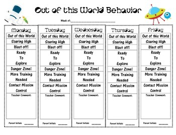Out of this World Behavior Sheet