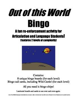 Out of this World Bingo A Speech and Language Re-enforcement/Enrichment Activity