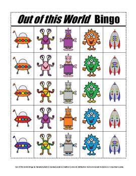 Out of this World Bingo A Speech and Language Re-enforcement/Enrichment Activity