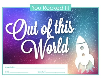 Out of this World Certificate