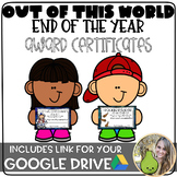 Out of this World - End of the Year - Award Certificates