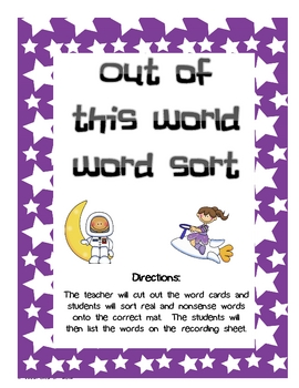 Out of this World Real and Nonsense Word Sort