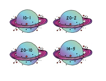 Out of this World Subtraction Flashcards