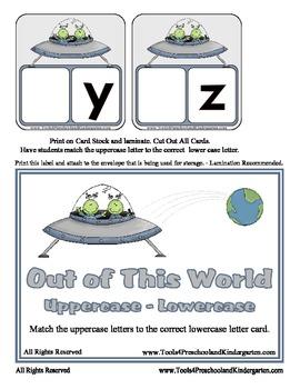 Out of this World Upper - Lower Case Matching - Alphabet  Preschool Kindergarten