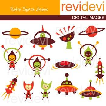 Out of this world clip art - Retro Space Aliens