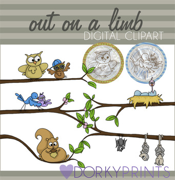 Out on a Limb Digital Clip Art with Owl, Bird, Squirrel, etc.