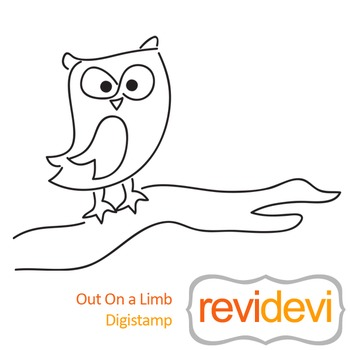 Out on a limb (digital stamp, coloring image) S051, owl on a branch