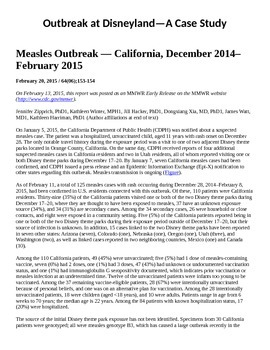 Outbreak at Disneyland! A Case Study--the Measles