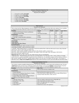 Outdoor / Adventure Education - Backpacking Trip Itinerary (Example)