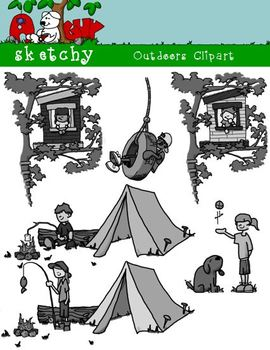 Outdoor / Camping Kids Clipart / Tree House
