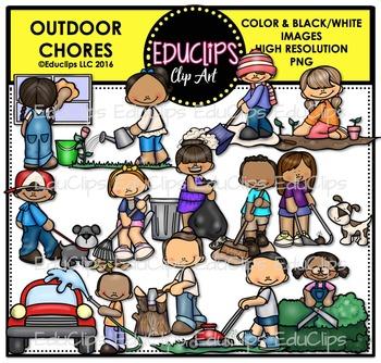 Outdoor Chores Clip Art Bundle {Educlips Clipart}