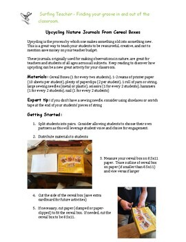 Outdoor Education - Upcycling Nature Journals from Cereal Boxes (Project)