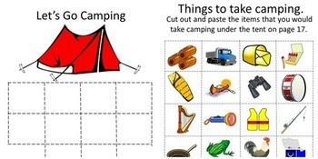 Camping, Cut and Paste, Summer School, Bundle, Summer Special Education