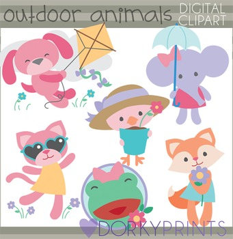 Outdoor Girl Animals Clip Art