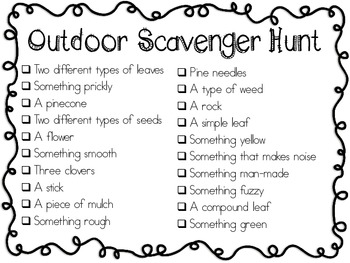Gargantuan image for outdoor scavenger hunt printable