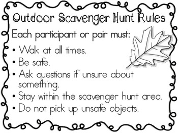 Outdoor Scavenger Hunt ~ List & Rules ~ FREEBIE!