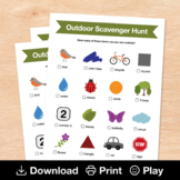 Outdoor Scavenger Hunt, Printable Nature Activity for Distance & Home Learning