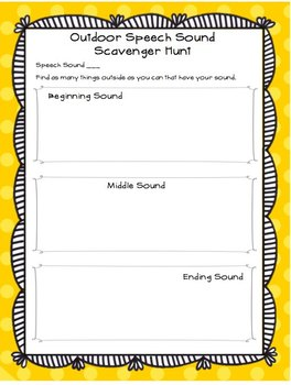 Outdoor Scavenger Hunt for Speech and Language