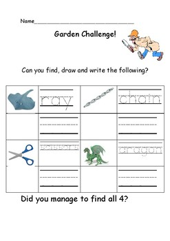 Outdoor Writing Challenge: Early years/ Kindergarten handwriting sheet 4