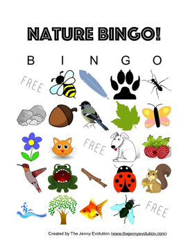 Outdoors Nature Bingo Game
