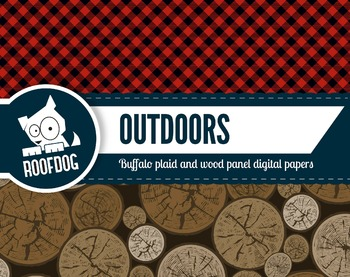 Outdoors lumberjack buffalo plaid pattern red and black digital papers