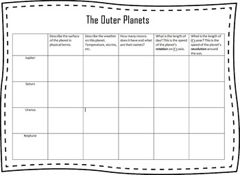 Outer Planets Graphic Organizer