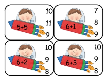 Outer Space  Addition Clip Card Math Center