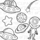 Outer Space Aliens Clip Art (Digital Use Ok!)