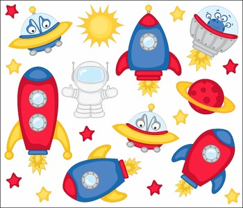 Outer Space, Aliens, Spaceships Clip Art Set