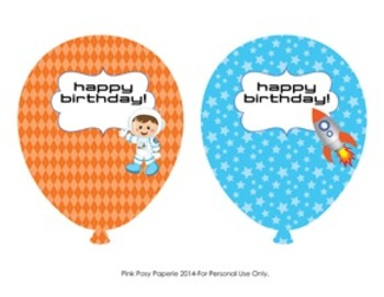 Outer Space Astronaut Birthday Balloons - 6 different designs
