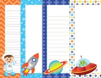 Outer Space Astronaut Writing Paper - 3 Designs - ( 7 1/2x10 )