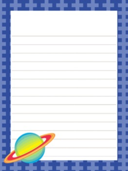 outer space astronaut writing paper 3 designs 7 1