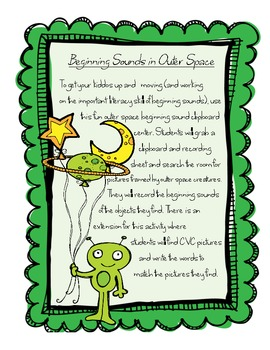 Outer Space Beginning Sounds and CVC Read the Room