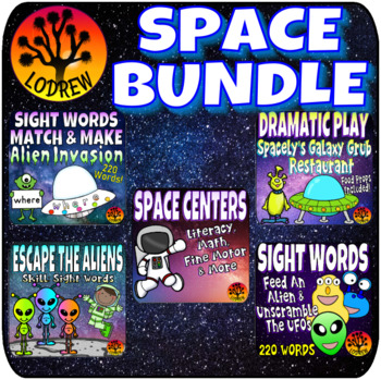Outer Space Bundle Centers Activities Games Literacy Math Fine Motor Aliens