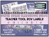 Outer Space Classroom Decor- Teacher Tool Box Labels {EDITABLE}