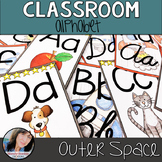 Outer Space Classroom Theme Decor - Alphabet Print and Cursive Posters